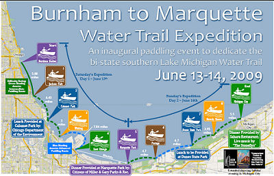 Burnham Marquette Water Trail map
