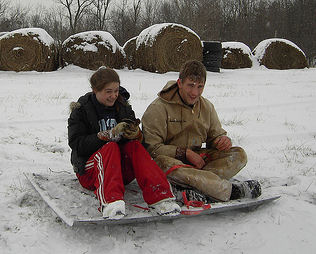 sledders on car hood