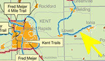 map of the Lowell to Ionia Trail