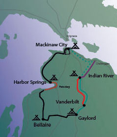 map of 2010 Michigander Bike Tour