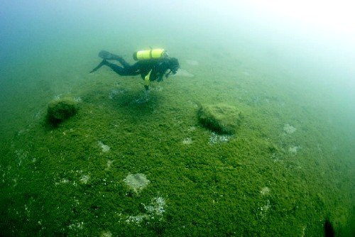 circle of underwater stones in Grand Traverse Bay