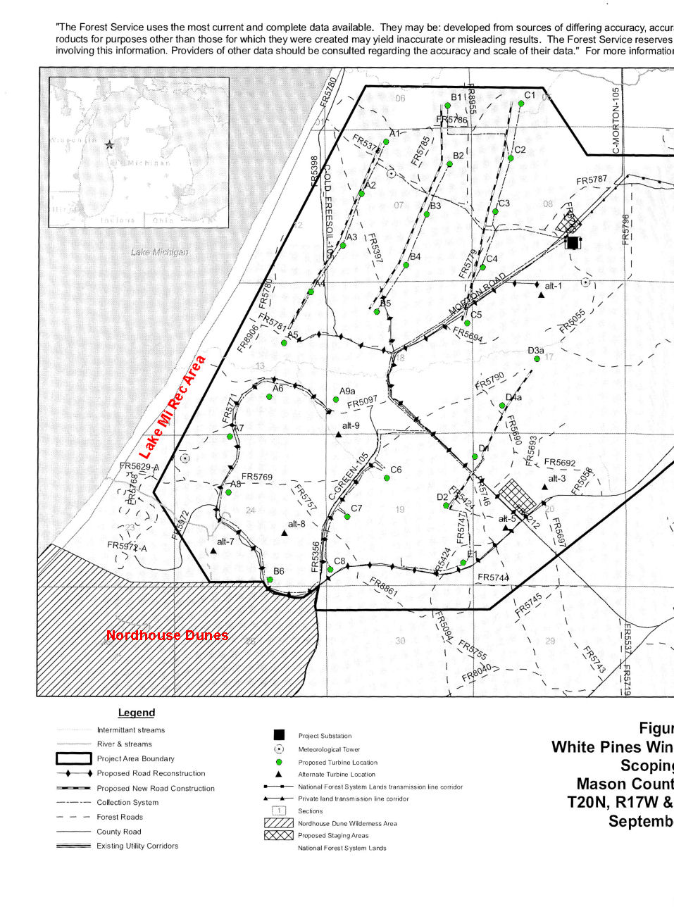 map of proposed wind turbine sites in Nordhouse Dunes